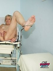 Mature Brigita having her old pussy gyno speculum examined at clinic